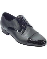 Vitiello Dance Shoes Scarpa da uomo ballo standard in nappa e verniciato colore nero - Blu