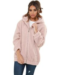 Urban Bliss – Lexi Borg Hooded Bomber Jacket Coat - Pink