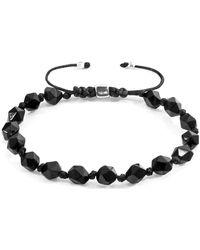 Anchor & Crew Zebedee Silver and Stone Beaded Macrame Bracelet Bracelets - Métallisé