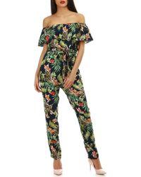 La Modeuse Combinaison pantalon bleu marine à imprimé fleuri Combinaisons