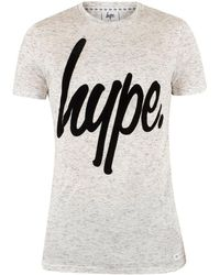 Hype - Men's Flecked Graphic Logo T-shirt, Grey Men's T Shirt In Grey - Lyst