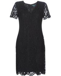 Lauren by Ralph Lauren Korte Jurk Scalloped Lace Dress - Zwart