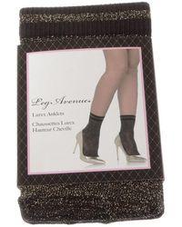 Leg Avenue Chaussettes Mi-Hautes - Nylon - Lurex Anklets femmes Chaussettes en Noir