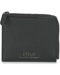Polo Ralph Lauren Portemonnees Pebble Leather-prl Sml Zip-wlt-tml - Zwart