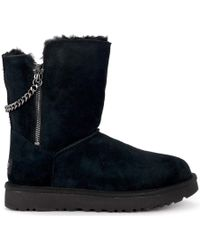 fda8e7860a6 Classic Short Sparkle Zip Black Suede Ankle Boots Women's Snow Boots In  Black