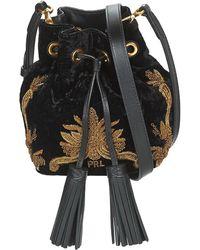 Polo Ralph Lauren Handtas Velvet W Bullion Sm Drawstrng - Zwart