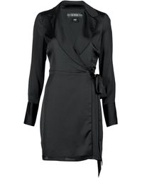 Guess LS EDEN WRAP DRESS Robe - Noir