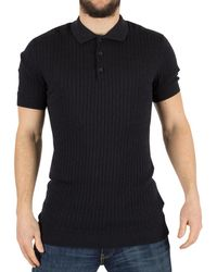 Minimum - Men's Bay Cable Knit Logo Polo Shirt, Blue Men's Polo Shirt In Blue - Lyst