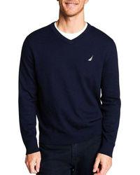Nautica S81010 JERSEY NAVTECH VNECK Sweat-shirt - Bleu