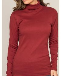 Dona X Lisa Sous pull col roulé pur coton organique FUSEE Pull - Rouge