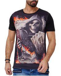 Monsieurmode T-shirt fashion tête de mort T-shirt 1592 noir T-shirt