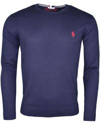 U.S. POLO ASSN. Pull Pull col rond U.S Polo bleu marine logo rouge pour homme