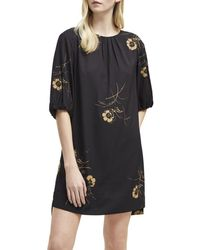 5a74e175a36 French Connection - Flowery Dress With 3/4 Sleeves Women's Dress In Blue -  Lyst