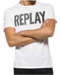 Replay - Logo Cotton Mens T-shirt Men's T Shirt In White - Lyst