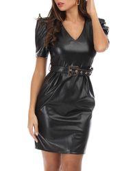 La Modeuse - Robe noire avec manches bouffantes - Lyst