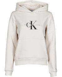 Calvin Klein Sweater Reflective Monogram Hoodie - Wit