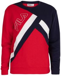 Fila Sweatshirt Paco Cut And Sew Striped Sweatshirt - Rot