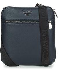 Emporio Armani Petit sac à bandoulière plat avec plaquette logotypée - Bleu