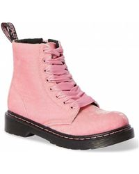 Dr. Martens 1460 J Velvet Pale Pink Velvet Boots - Rose