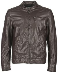 Benetton - Houlo Men's Leather Jacket In Brown - Lyst