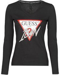 Guess LS VN ICON TEE T-shirt - Noir