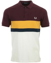 Fred Perry Colour Block Polo Shirt - Blanco
