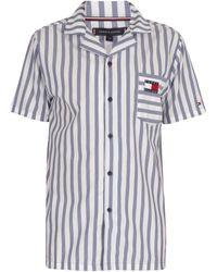 Tommy Hilfiger Chemise de pyjama rétro à manches courtes Pyjamas / Chemises de nuit - Bleu