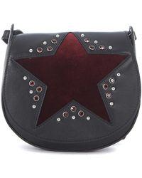 Orciani - Black Tumbled Leather Shoulder Bag With Red Velvet Star Women's Shoulder Bag In Black - Lyst