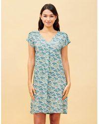 La Fiancee Du Mekong Robe imprimée fluide et ample TATU Robe - Bleu