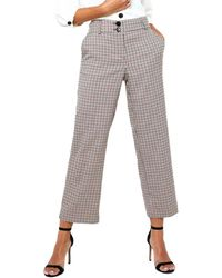 ONLY Pantalon ONLBEA MID ANK STRAIGHT CHECK - Marron