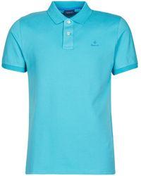 GANT Polo Shirt Korte Mouw Contrast Collar Pique Polo - Blauw