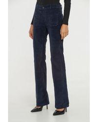 Best Mountain Pantalon Pantalon flare en velours côtelé - Bleu