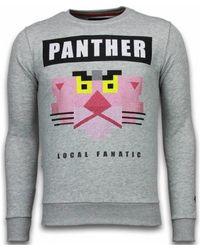 Local Fanatic Sweater Panther - Rhinestone Sweater - Grijs