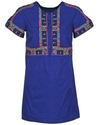 Antik Batik Korte Jurk Emilie - Blauw