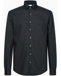 Calvin Klein Camisa slim de popel�n el�stico - Negro