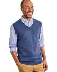 Woolovers Pull sans manches Homme Pull - Bleu