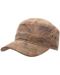 Stetson Casquette militaire cuir Raymore Pig Skin marron-6 Casquette