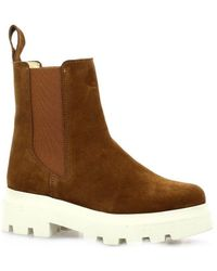 So Send Boots cuir velours Boots - Marron