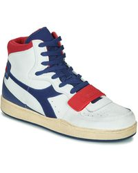 Diadora Hoge Sneakers Mi Basket Used - Wit