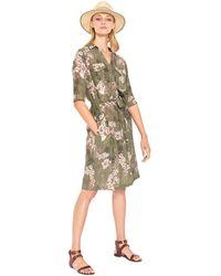 Mkt Studio Robe courte Robe chemise à motifs col V manches 3/4 RULINI - Marron
