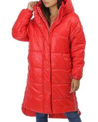 La Modeuse Manteau Doudoune rouge longue matelassée asymétrique