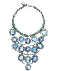 Sveva Collection - Collana Lunga Pietre Blu Women's Necklace In Blue - Lyst