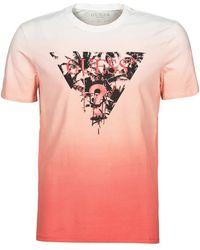 Guess PALM BEACH CN SS TEE T-shirt - Rouge