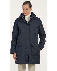 Mat De Misaine - Hooded Waterproof Parka Famous Navy Blue Women's Parka In Blue - Lyst