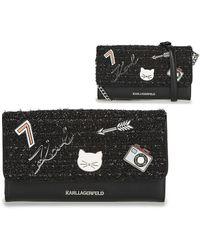 Karl Lagerfeld K/klassic Pins Wallet On Chain Women's Purse Wallet In Black