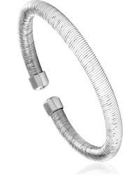 Cleor Bracelets Jonc en Argent 925/1000 et Silicone Blanc