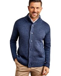 Woolovers Pure Wool Button Everyday Cardigan - Blue
