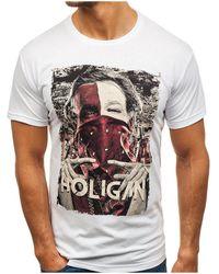 Monsieurmode T-shirt imprimé et fashion T-shirt M103 blanc T-shirt
