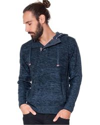 French Denim Pull capuche d?tails bleu blanc rouge Pull