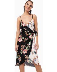 Zibi London Robe portefeuille mi-longue à imprimé floral - Noir